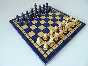 Brand new blue hand crafted wooden chess set 34x34cm ebay for Hand crafted chess set