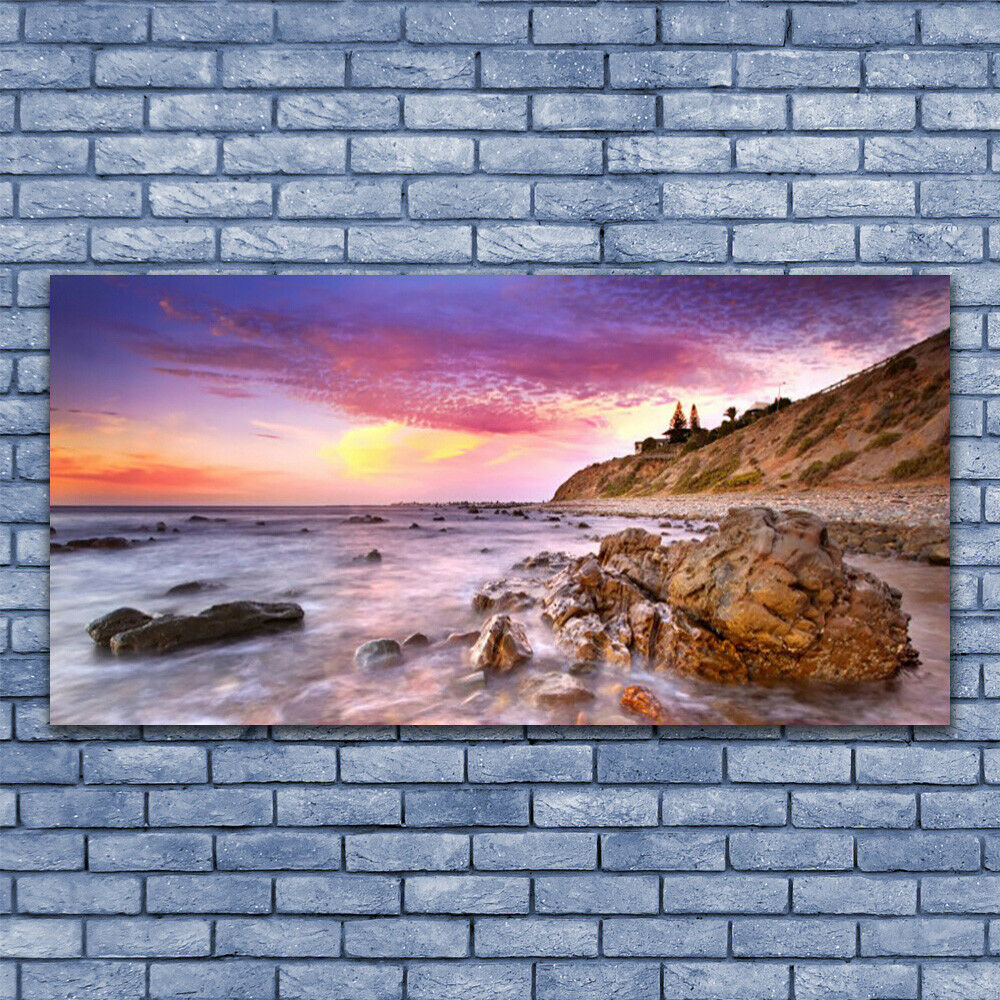 Glass print Wall art art art 140x70 Image Picture Sea Stones Landscape 13ec3a