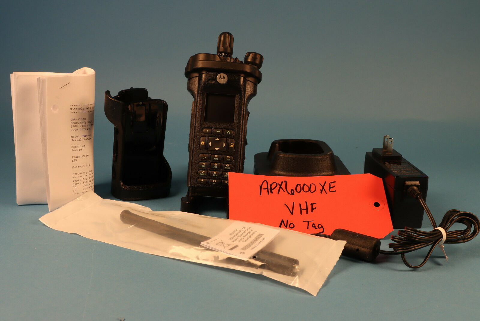 Motorola APX6000XE  VHF  FPP w/charger, antenna, Holster *no Tag. Available Now for 2200.00