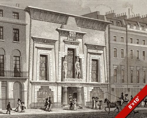 BULLOCKS EGYPTIAN MUSEUM LONDON ENGRAVING PAINTING ARCHITECTURE ART CANVAS PRINT
