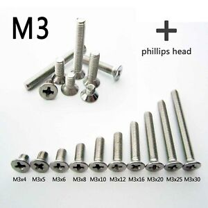 25-100-Stainless-Steel-Metric-M3-Flat-Countersunk-Phillips-Cross-Head-Screw-Bolt