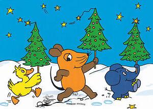 Postkarte: Ente, Maus und Elefant mit Weihnachtsbäumen im Schnee
