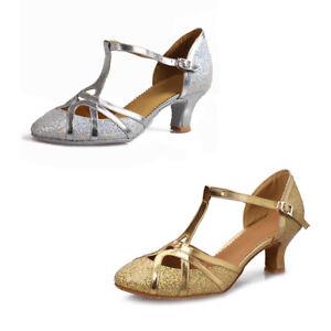 Dance shoes Latin Modern For Ladies Women Girls Glitter Gold Silver ... 4ae42ba06002