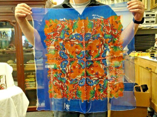 Vintage Made in Italy Seta Pura Pure Silk Sheer Chiffon Scarf Orange Floral #2