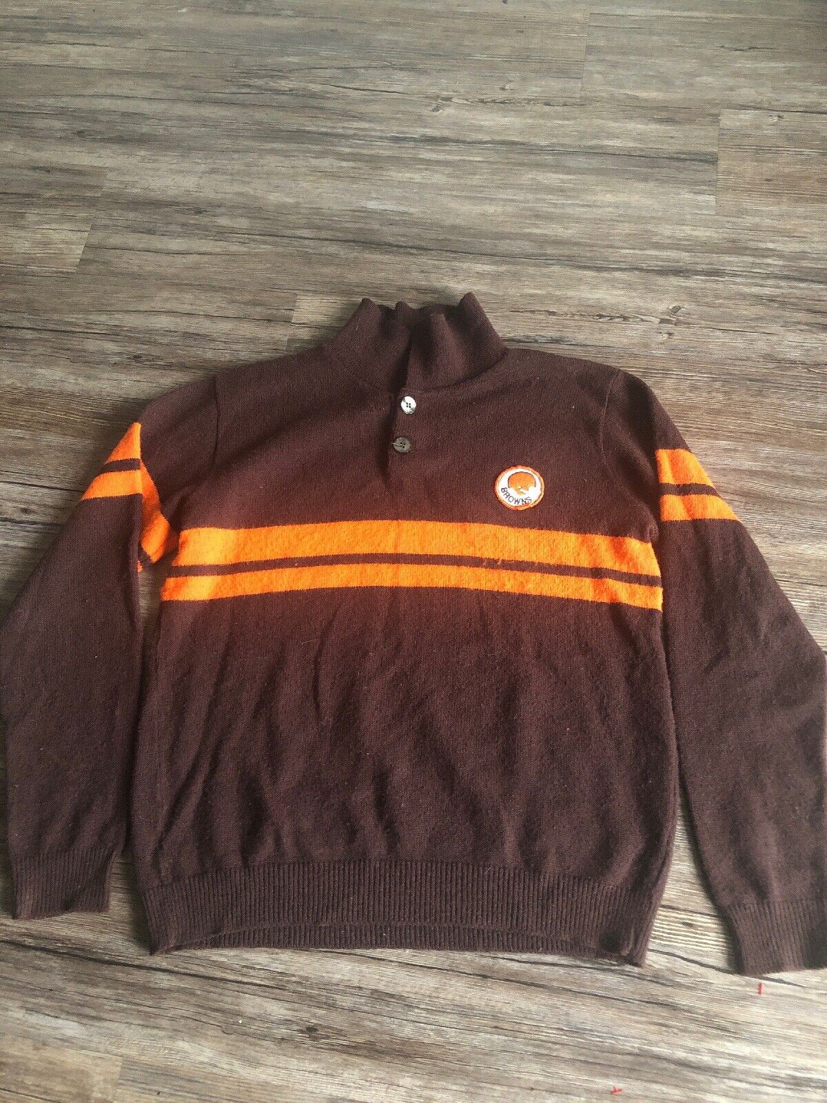 VINTAGE 70s Cleveland brauns Sweater Collar NFL Football Rare Orange Stripe