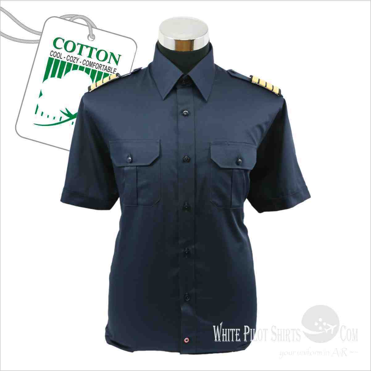 NAVY Blau Pilot Uniform Shirt Easy Care Aviator Helicopter pilots Cotton soft