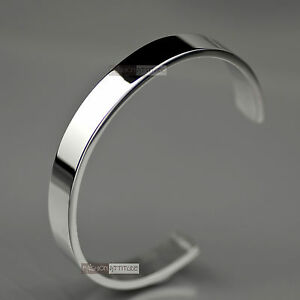 Image Is Loading Silver Bracelet Solid Stainless Steel Plain Polished Engravable