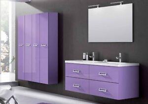 Mobile da Arredo per Bagno sospeso moderno con doppio lavabo bianco in 25 colori  eBay