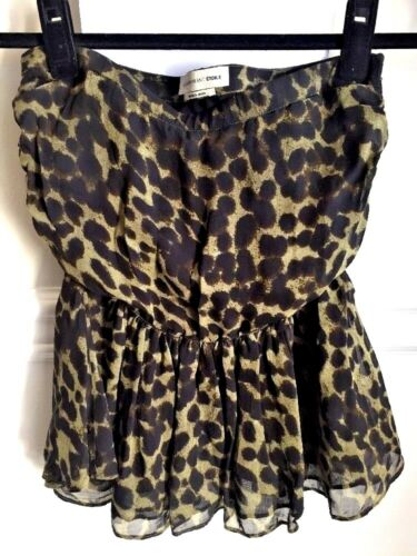 ISABEL MARANT Silk Mini Skirt Tube Top Ruffle Gree