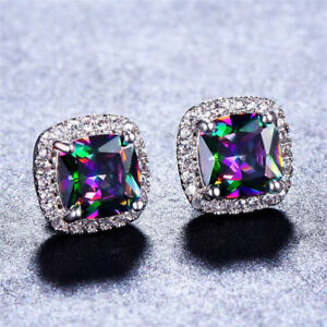 Mystic-18K-White-Gold-Plated-Rainbow-Topaz-Stud-Earrings-Womens-Gift-8MM