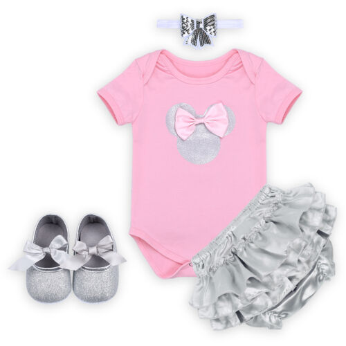 4PCS Baby Girls Minnie Mouse Outfit Birthday Romper Headband Pants Shoes Clothes