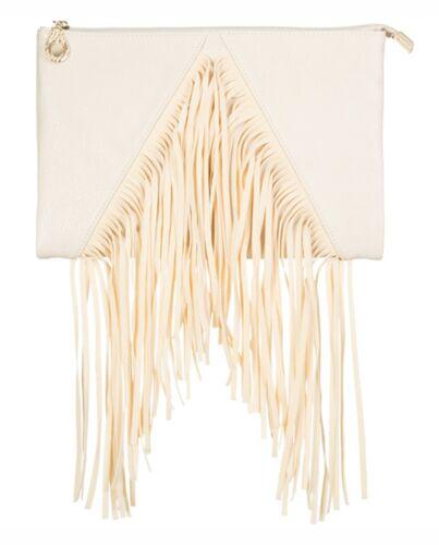 Faux Leather Envelope Clutch Bag Tassel Evening Womens Designer Slouch Fringe