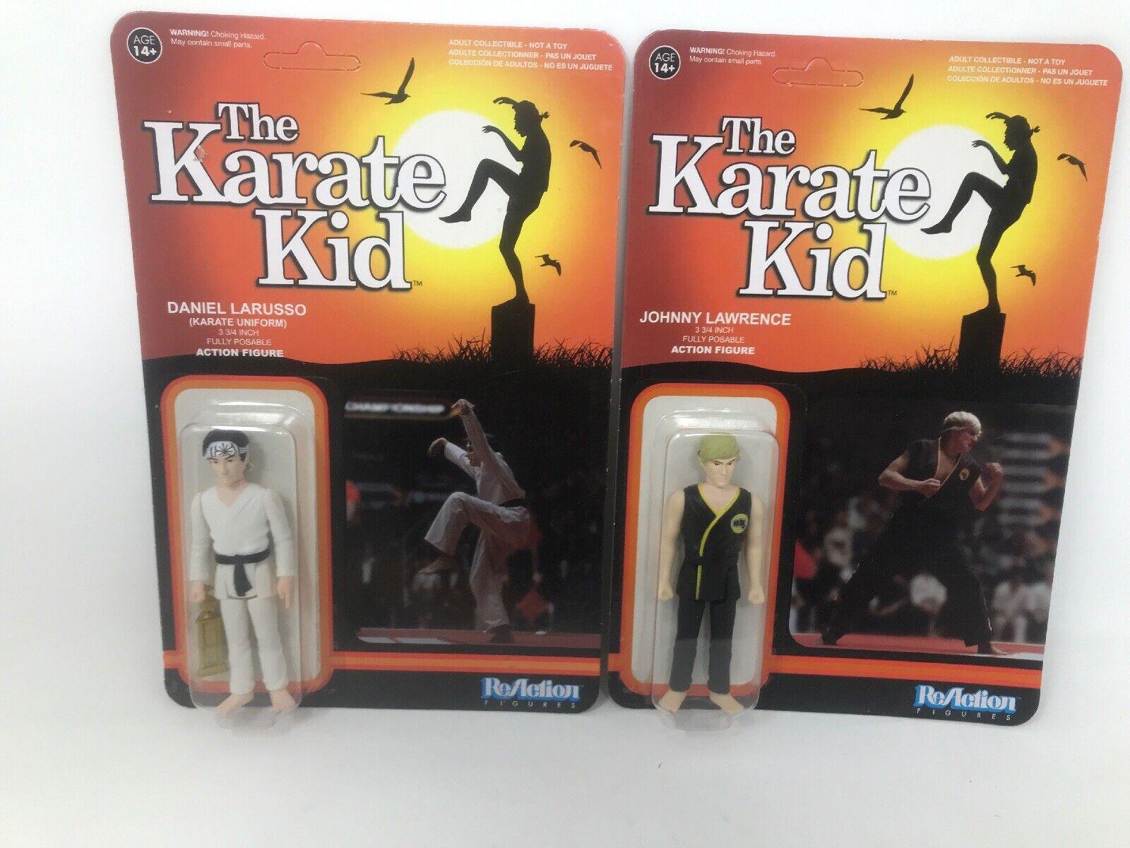 Lot Of 2 Funko Reaction The Karate Kid Johnny Lawrence & Daniel Larusso 3 3 4