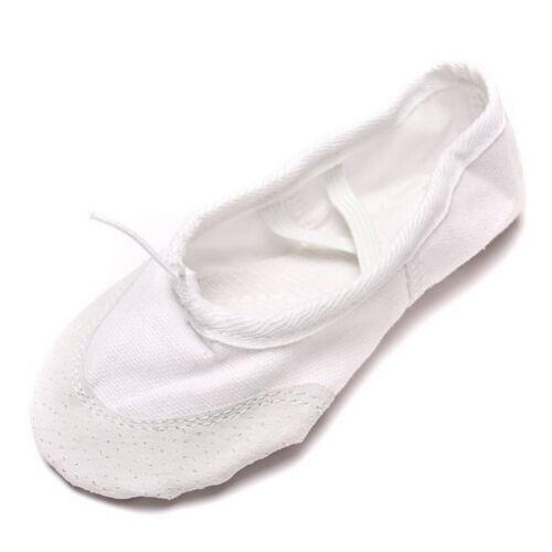 Soft Kids Girls Lady Yoga Ballet Dance Shoes Canvas Leather Sole Elegant Soft
