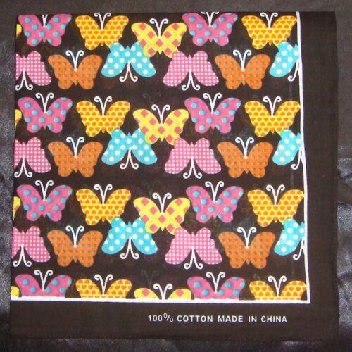 Multi Colore Farfalla Stampa QUADRATO COTONE BANDANA