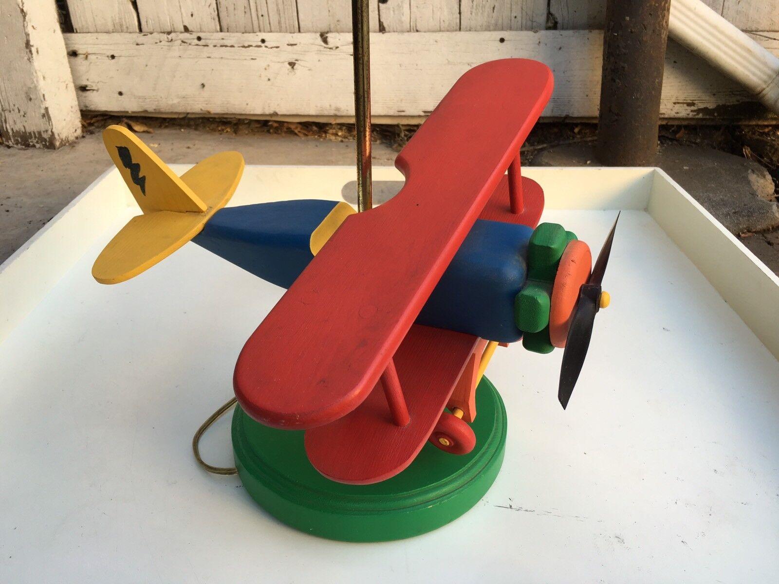 Vintage en bois bi-avion Lampe Original abat-jour Enfants'S Chambre à Coucher Décor Works