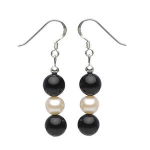 Ohrringe-Ohrhaenger-aus-Onyx-amp-Suesswasserperlen-925-Silber-schwarz-weiss-Damen