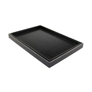 Natural-Wooden-Serving-Tray-SPA-Tea-Food-Server-Dish-Platter-Black-Plate-S