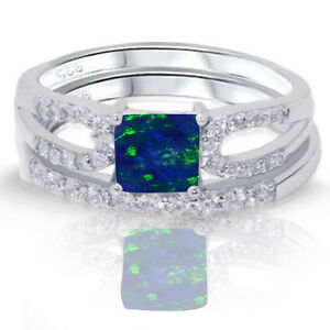 Image Is Loading Cushion Cut Dark Blue Fire Opal Engagement Wedding