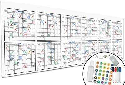 """Large Dry Erase Monthly Wall Calendar 36/"""" x 24/"""" Big Reusable Schedule Planner..."""