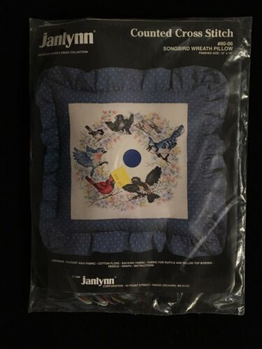 Janlynn Songbird Wreath ow Counted Cross Stitch Kit 1988 NEW