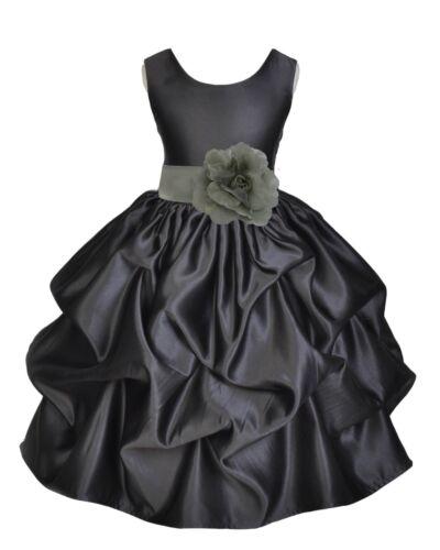 BLACK FLOWER GIRL DRESS TODDLER ANKLE LENGTH WEDDING BIRTHDAY CELEBRATION KIDS