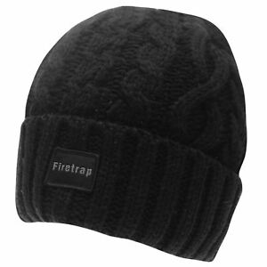 Mens-Firetrap-Cable-Beanie-Pattern-New