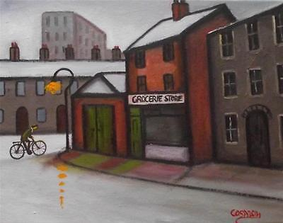 No Late Night Shopping  : Original Northern Art Oil Painting on Canvas by COSA