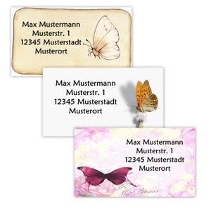 40-Adressetiketten-Adressaufkleber-oder-10-Visitenkarten-Motiv-034-Schmetterling