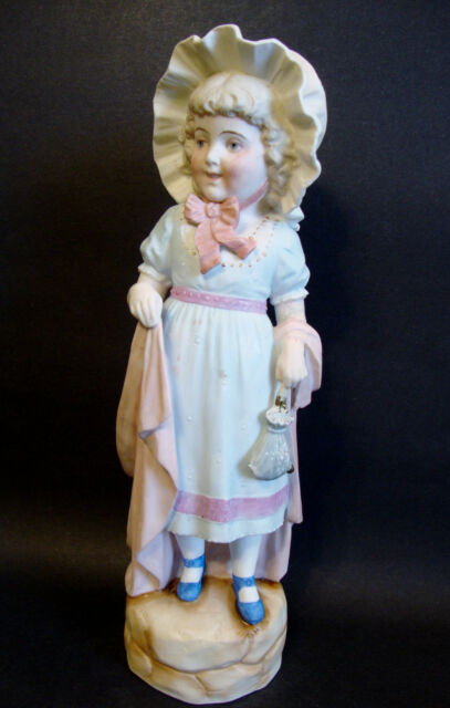 """Bisque Porcelain Figurine Hand Painted Marked # 5301 -German (?) 14 1/2""""H (7099)"""
