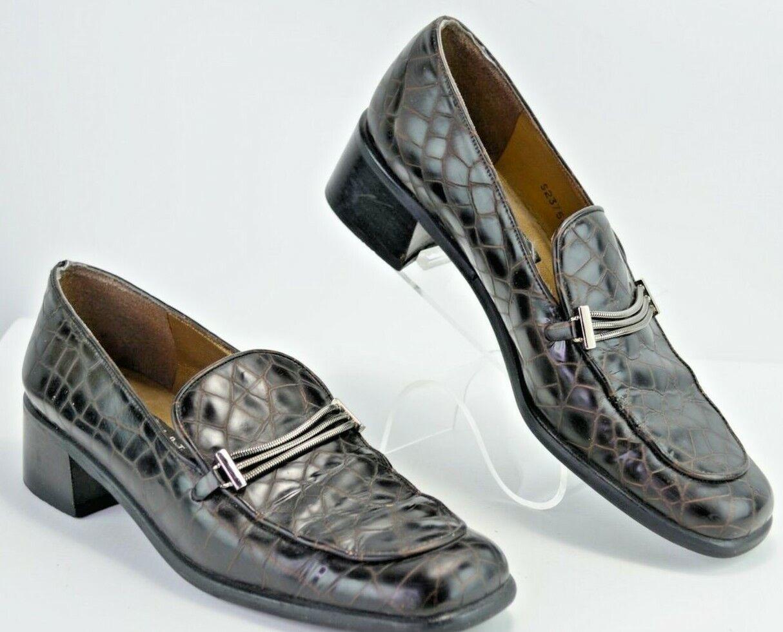 STUART WEITZMAN Womens 7.5 N Croc Embossed Slip On Dress Loafers Brown Lthr Y432