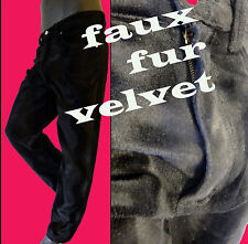 Black leopard velvet faux fur jean pant 36 punk rave rock star MOD animal print