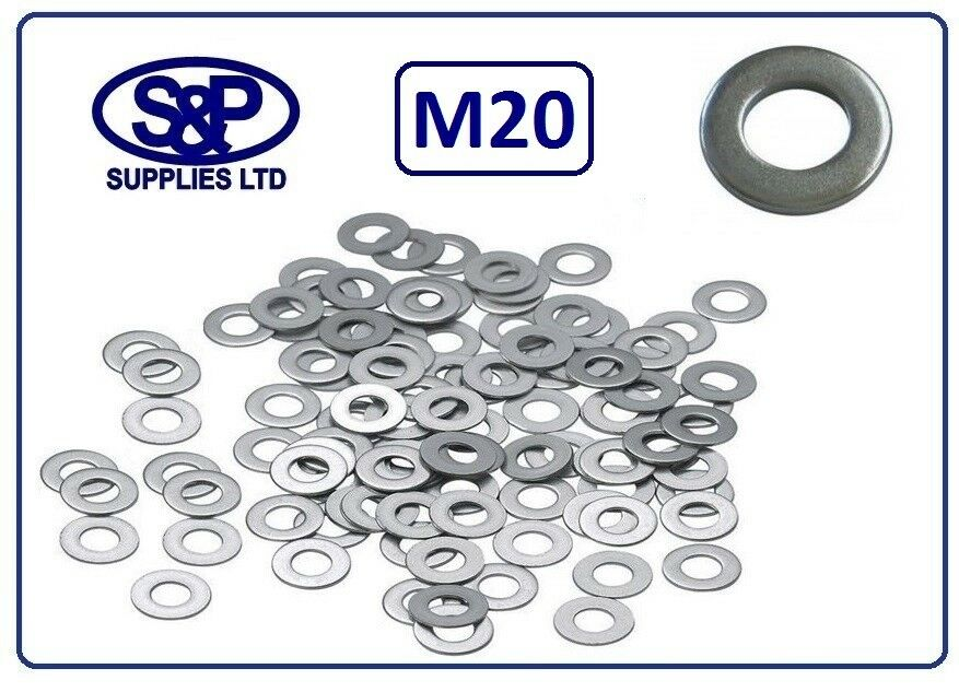 M20 - 20MM STAINLESS STEEL WASHER FLAT WASHER 20mm BORE ST STEEL A2 STAINLESS