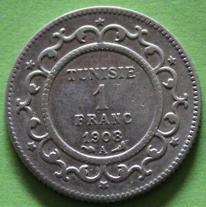 TUNISIE-1-FRANC-1908-A-ARGENT