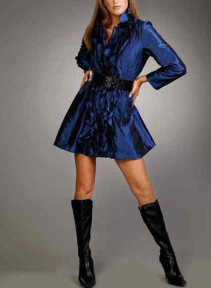 Jerry T Metallic Blau Dress Jacket With Ruffles Small S 6 8 Dress SR 586 New NWT