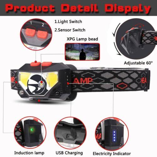 2* 85000Lm LED Motion Sensor Headlamp Headlight USB Rechargeable Head Torch Lamp
