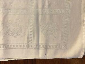 1950/'s Beautiful  Ivory Linen Damask Tablecloth.