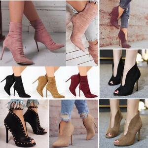Women-039-s-High-Heels-Peep-Toe-Stilettos-Rivets-Ankle-Sandals-Gladiator-Shoes-Boots