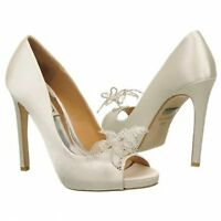 NIB Badgley Mischka Reta wedding bridal pump open toe heel heels satin shoes