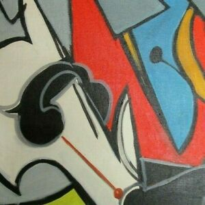 Vintage Original Oil Painting Abstract Picasso Style Cubist Fine Art Modern Art