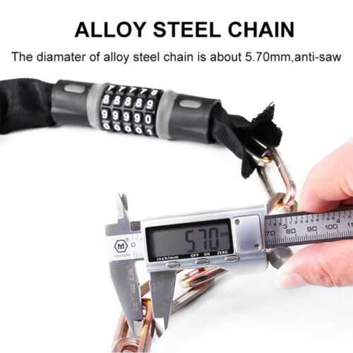 Bike Bicycle Anti-theft Lock Chain 5 Digits Motorcycle Security Password Code UK