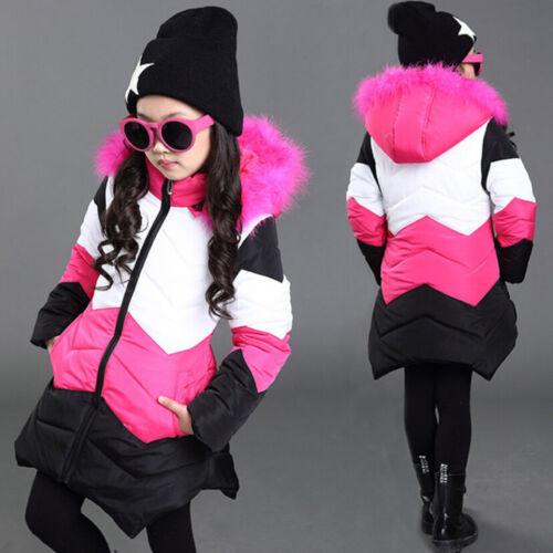 Child Kids Girl Winter Warm Fur Hooded Coat Jacket Cotton-padded Parka Outwear