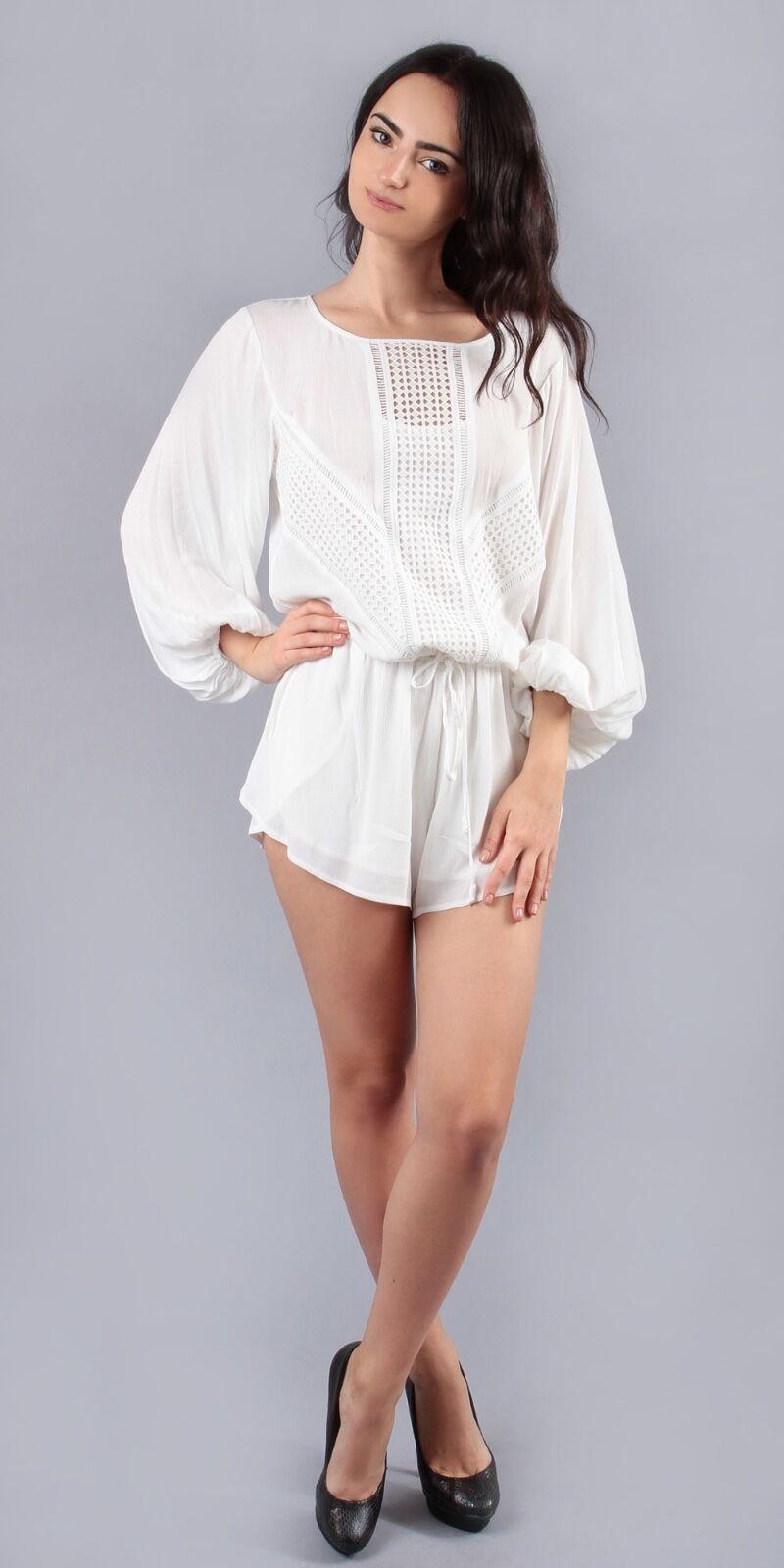 Liberty Garden Lace Crochet Romper Shorts   Blouson Long Sleeve XS S 5HMY8311