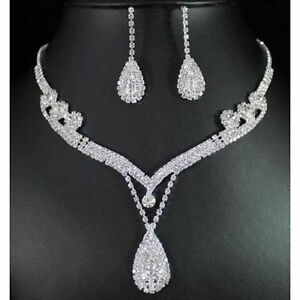 Necklace Earrings Flower & Pear Drop Crystal Silver Bridal Jewelry Set Bridal & Wedding Party Jewelry Engagement & Wedding