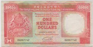 Mazuma *F768 Hong Kong 1990 $100 KQ987742 GVF