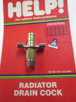 Help Parts 61105 1/8'' NPT Radiator Drain Cock w/ 3/8'' Hose Barb