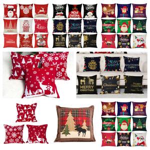 Christmas Pillow Case Santa Car Sofa Throw Cushion Cover Home Decor Cotton Linen