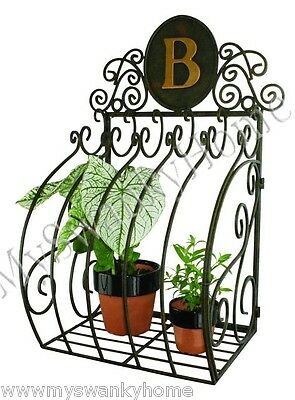 Monogrammed SCROLL Old World WALL PLANTER Box Window Cage HORCHOW Iron Metal
