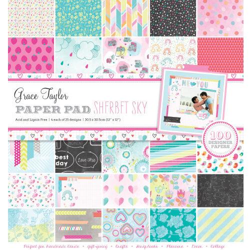 SALE Grace Taylor Sherbet Sky 100 Sheets 25 designs great for cards /& crafts