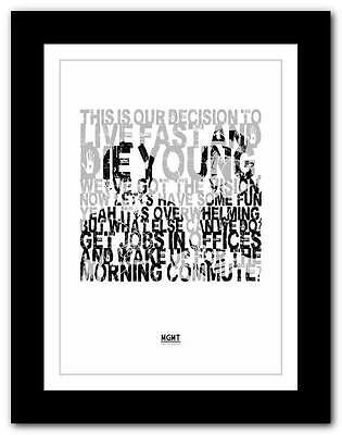 A1 A2 A3 or A4 ❤ MGMT Time To Pretend ❤ song lyric typography art poster print